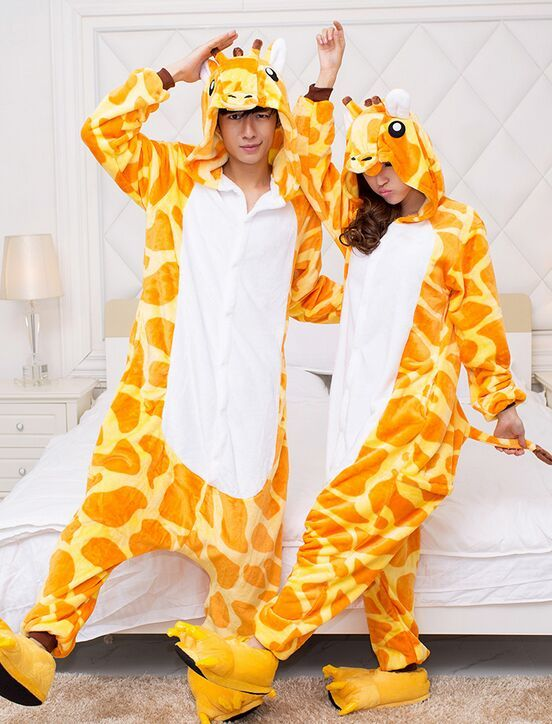 6ef29037360a Adult Giraffe Flannel Pajamas Animal Costume Men Women Warm One Piece  Sleepwear Couples Kugurumi Cheap Homedress Siamese Onsies