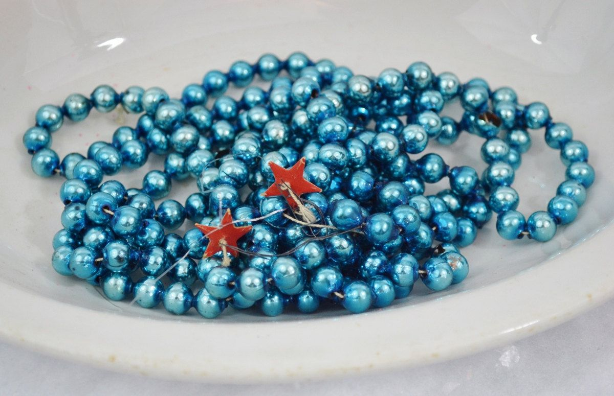 Vintage Bright Blue Glass Bead Christmas Garland 8' Length