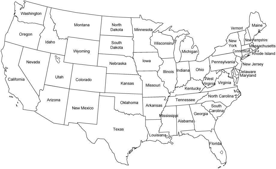 Us Map With Names us map and capitals printable printable ...