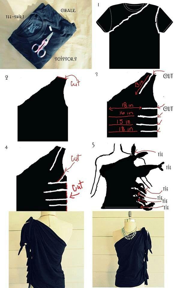 One shoulder/side slits | Gör-det-själv-mode, Kläder diy ...