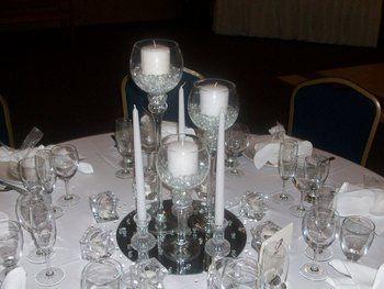 Wedding Flowers Reception White Centerpiece Silver