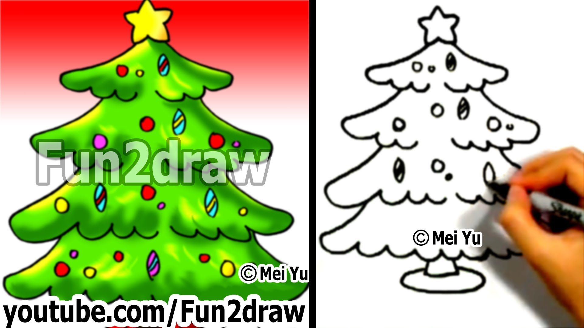 How To Draw A Christmas Tree In 1 Min Easy Cartoon Drawings Cartoon Drawings Christmas Tree Drawing