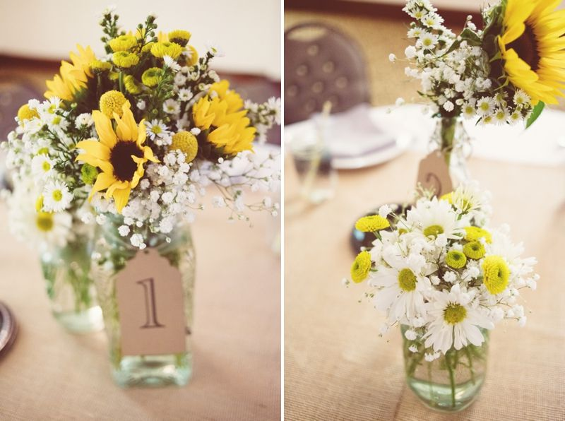 Rustic Yellow Florida Wedding Daisy Centerpieces