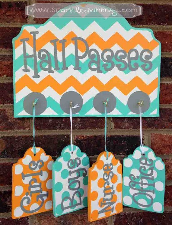 Hall Passes Sign for Classroom Classroom decor, teacher gift, class office pass, bathroom pass Teacher name sign is part of Classroom decor DIY - outdoor use  Back of sign is painted white and arrives ready to hang  Vinyl is not used on this product  CUSTOM DETAILS Colors and text can be changed  Please provide the information in the NOTES TO SELLER at checkout  If no custom details are given, item will be sent as pictured in the listing, using my best judgment All designs & photos owned by Sparkled Whimsy © 2018present  All rights reserved