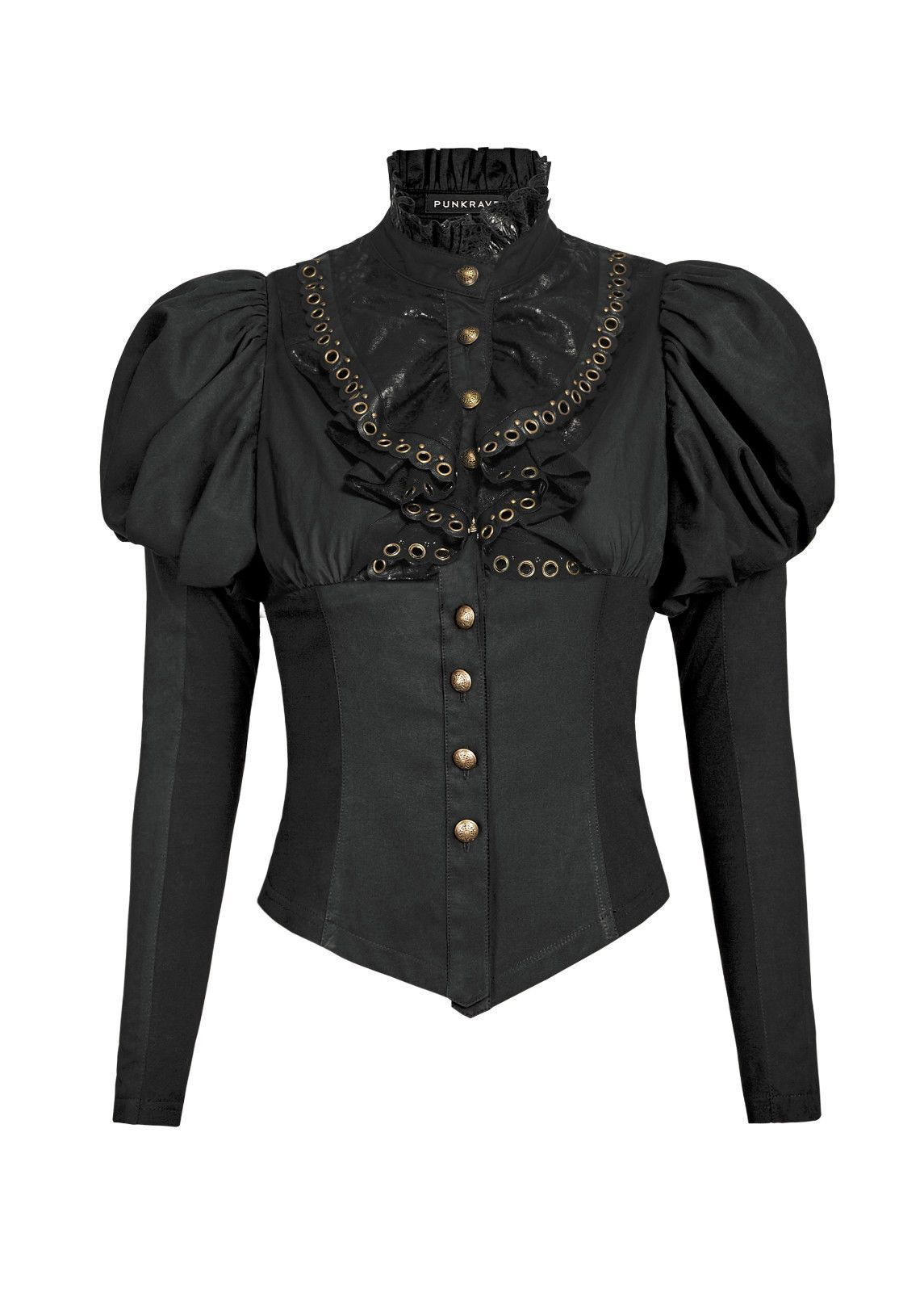Punk Rave Womens Steampunk Top Black Copper Gothic Dieselpunk Long Sleeve Corset