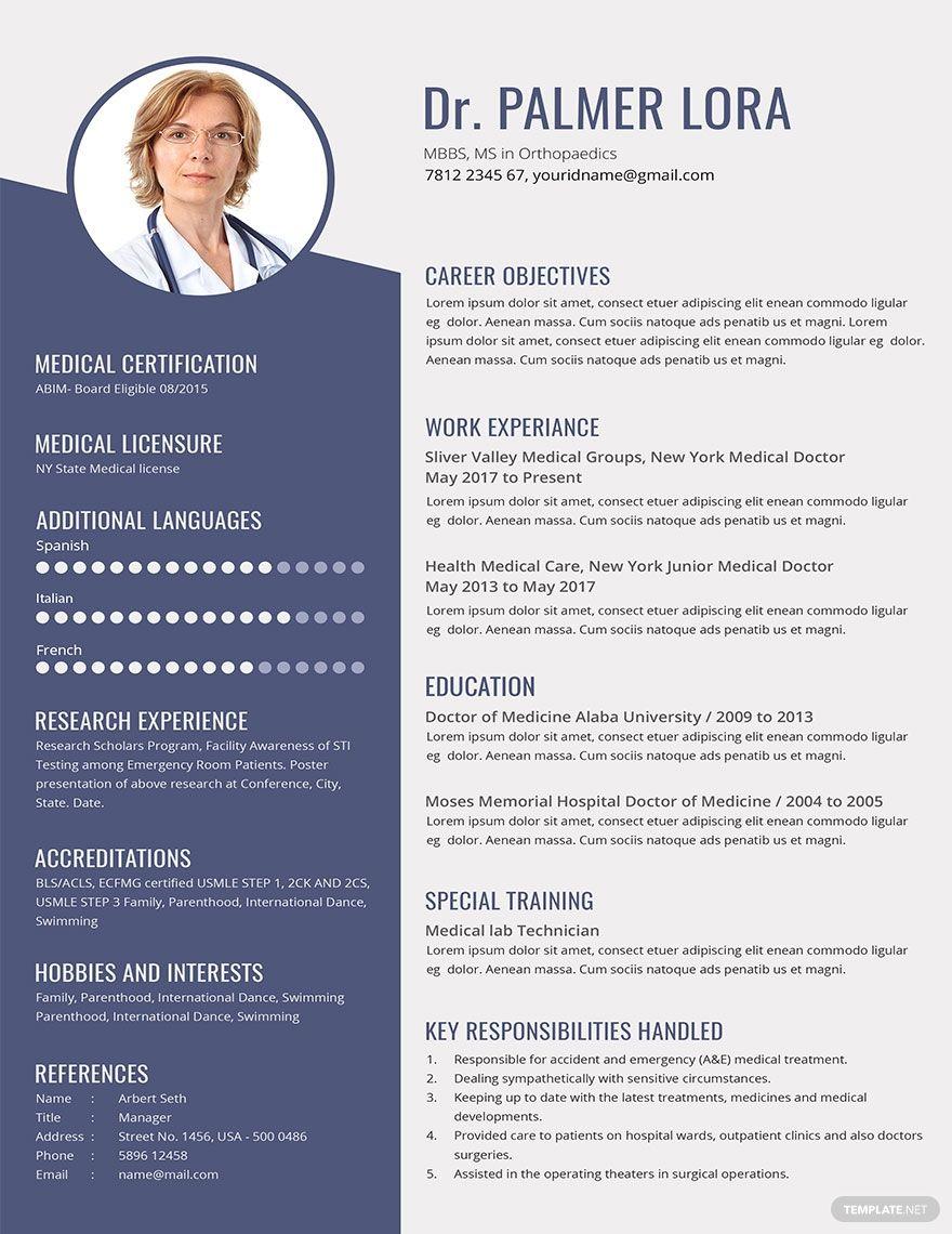 Doctor Resume Cv Template Word Psd Google Docs Publisher Cv Template Word Resume Resume Template
