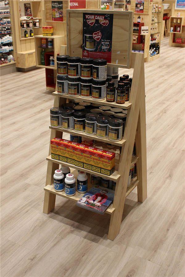 4 Tier Wood Flooring Display Pharmacy Rack Design Super U Shop