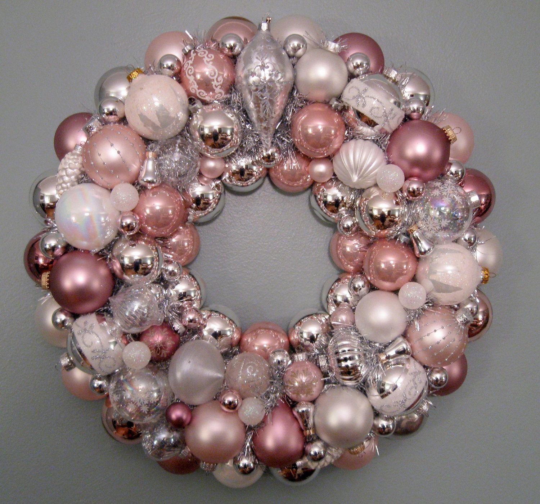 Christmas Wreath, Pink Ornament