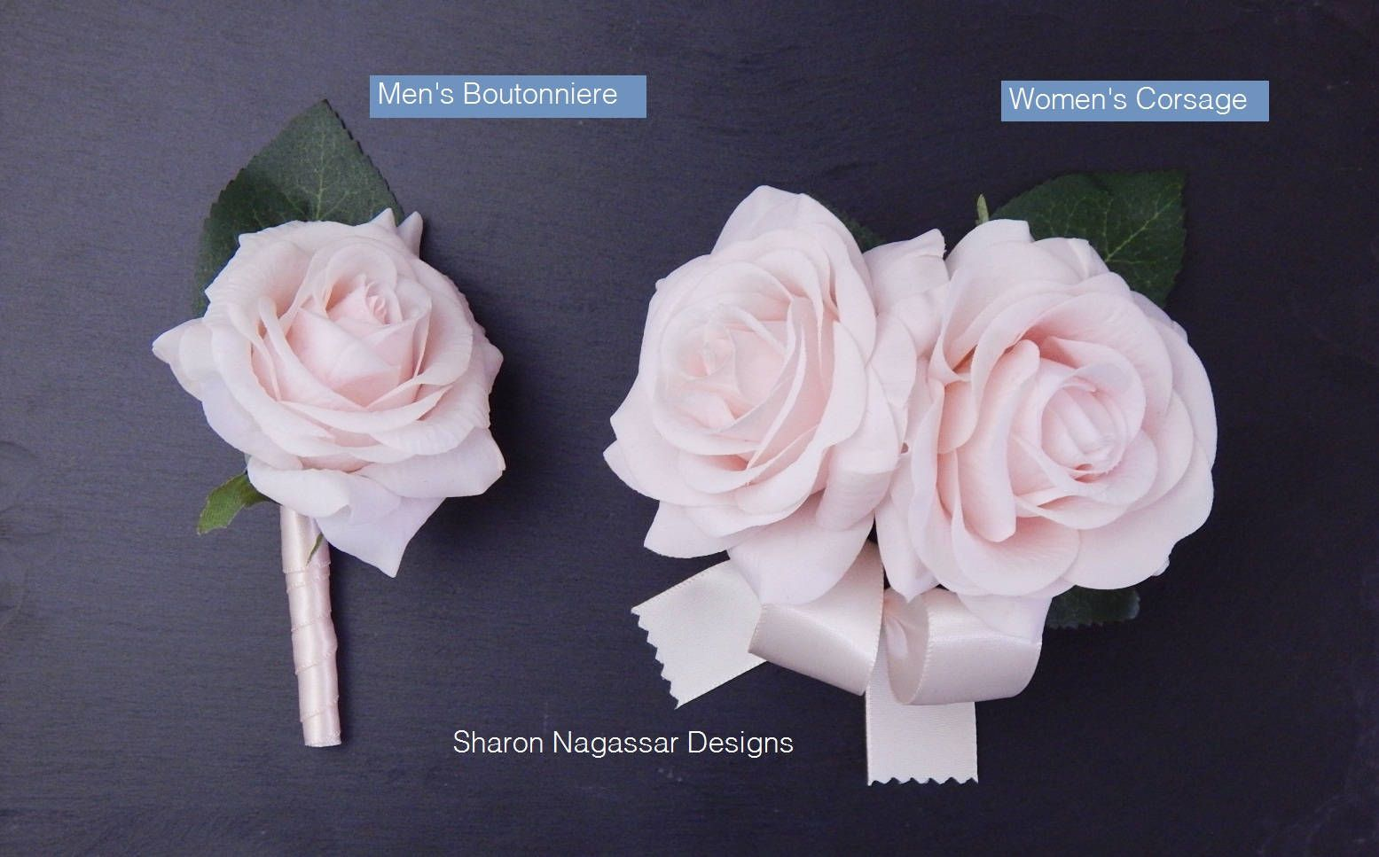 Corsage Or Boutonniere Roseroses Blush Pink Real Touch Flowers