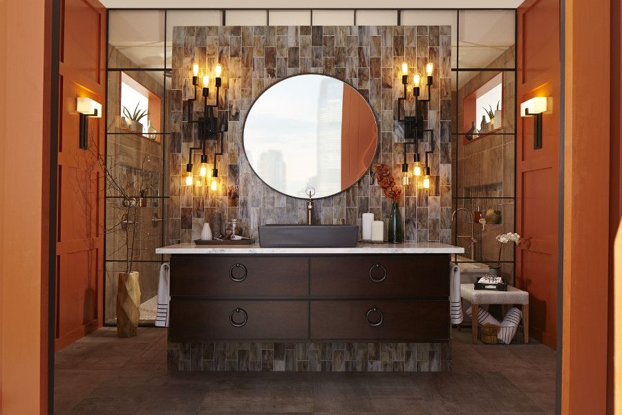 bathroom bathroom lighting ideas american standard wall. This Confident And Chic Industrial Design Style Bathroom Celebrates The Use Of Exposed Building Elements In A Modern Anew With DXV Seagram Toilet./Wall-hung Lighting Ideas American Standard Wall H