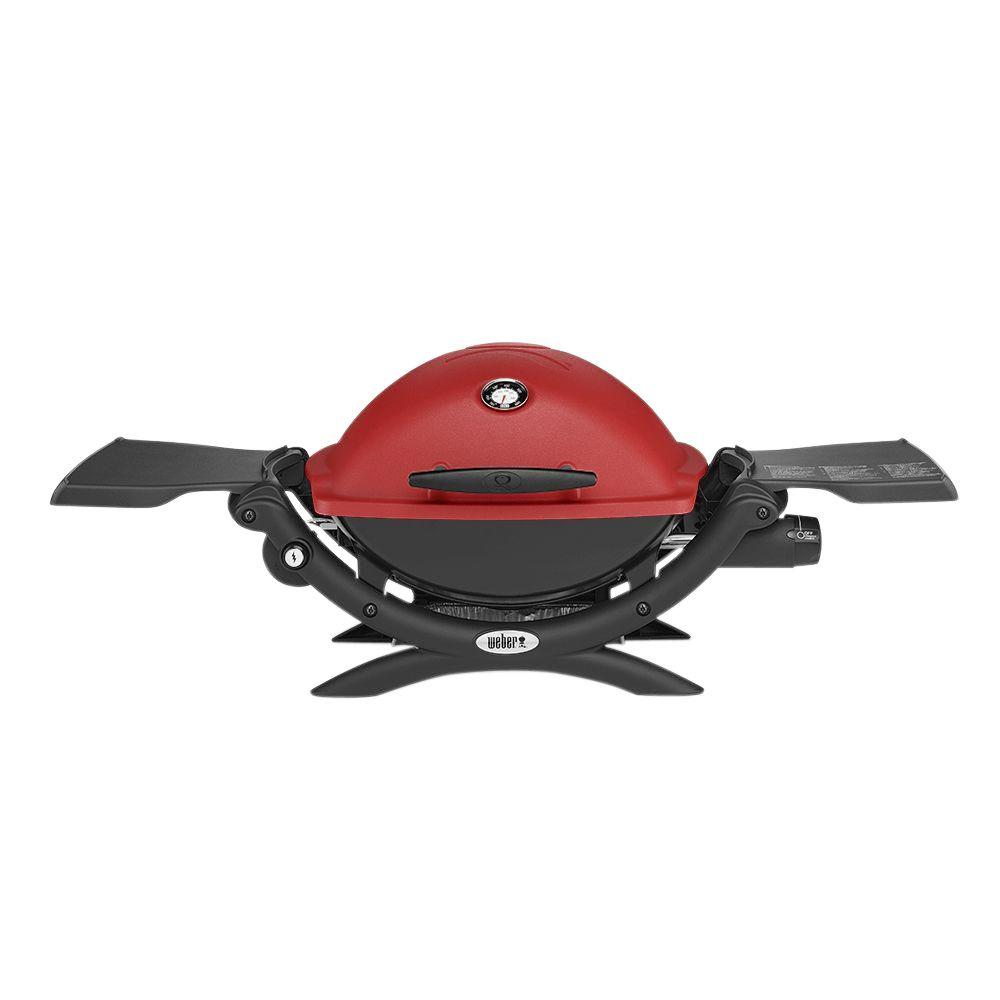Weber Q 1200 1 Burner Portable Tabletop Propane Gas Grill In Titanium With Built In Thermometer 51060001 The Home Depot Propane Gas Grill Gas Grill Best Gas Grills