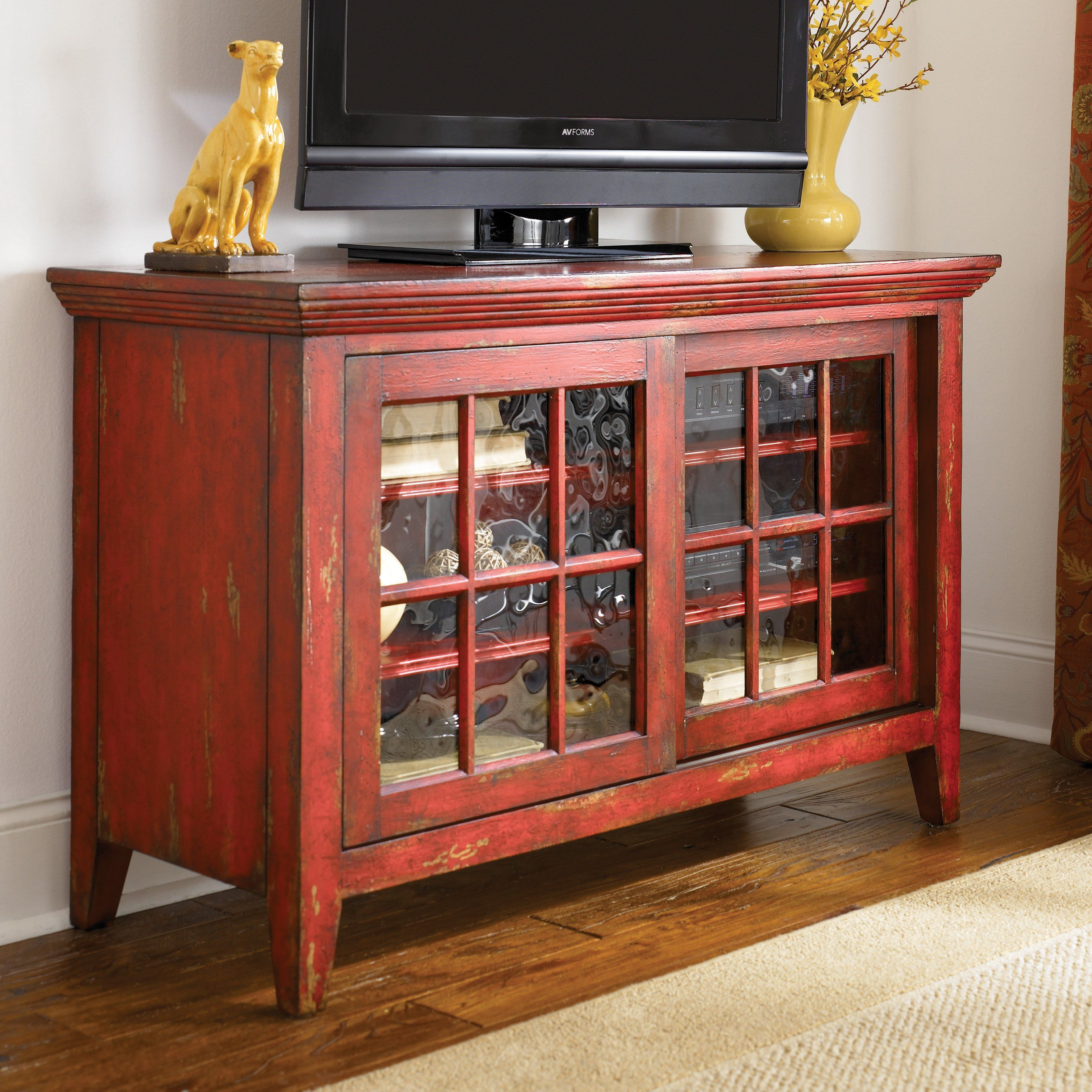 Awesome 48 X 31 Hammary Hidden Treasures Red Entertainment Console   $1210