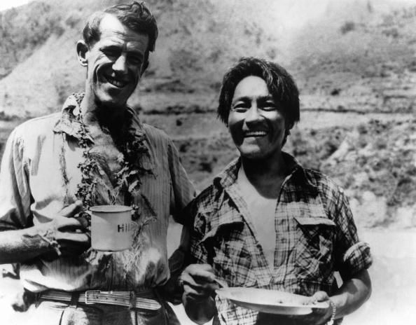 Sir Edmund Hillary and the Sherpa Tenzing drinking a cup of tea. #history #tea