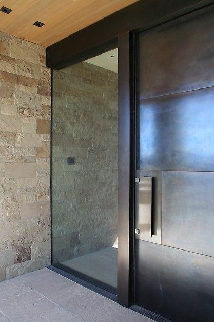 No trim around window – seamless up to rock wall