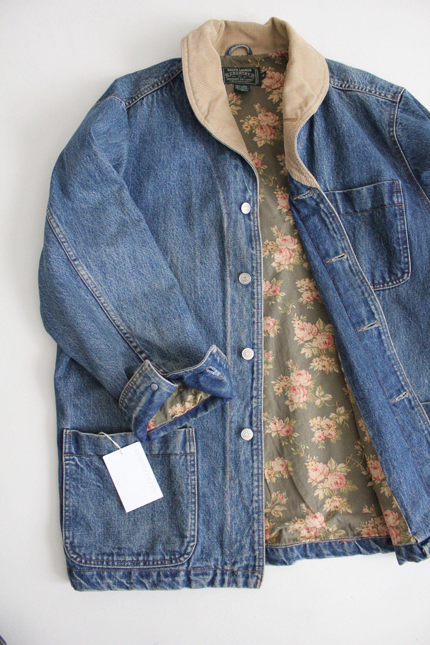 Denim Barn Coat Floral Lined Denim Jacket Ralph Lauren Denim Coat Lined Denim Jacket Denim Jacket Fashion [ 2250 x 1500 Pixel ]