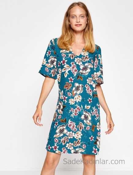 2018 Koton Elbise Modelleri Yesil Kisa Cicek Desenli Kisa Kollu Elbise Modelleri Elbise Moda Stilleri