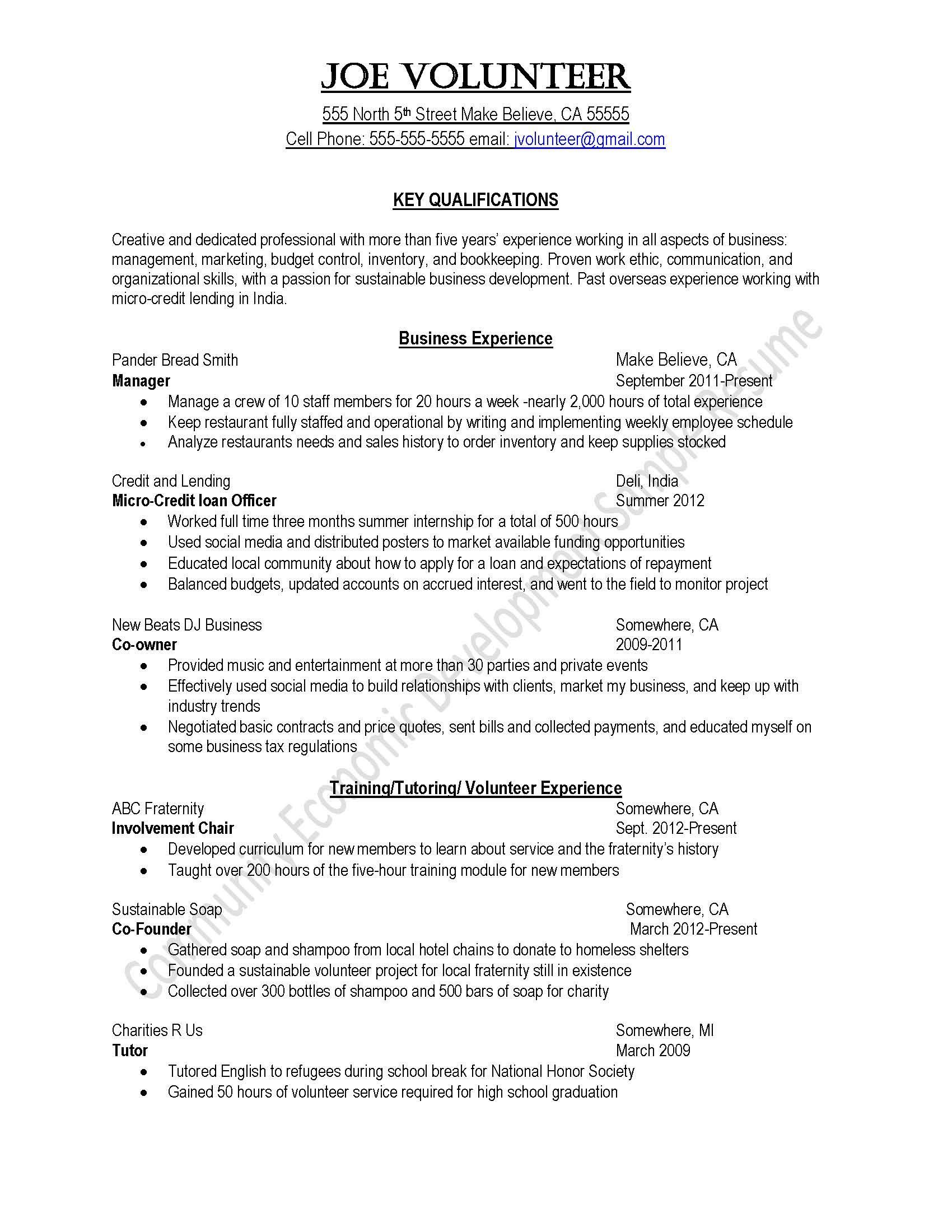 Volunteer Resume Samples Resume Samples Uva Career Center Agriculture Click Enlarge Peace