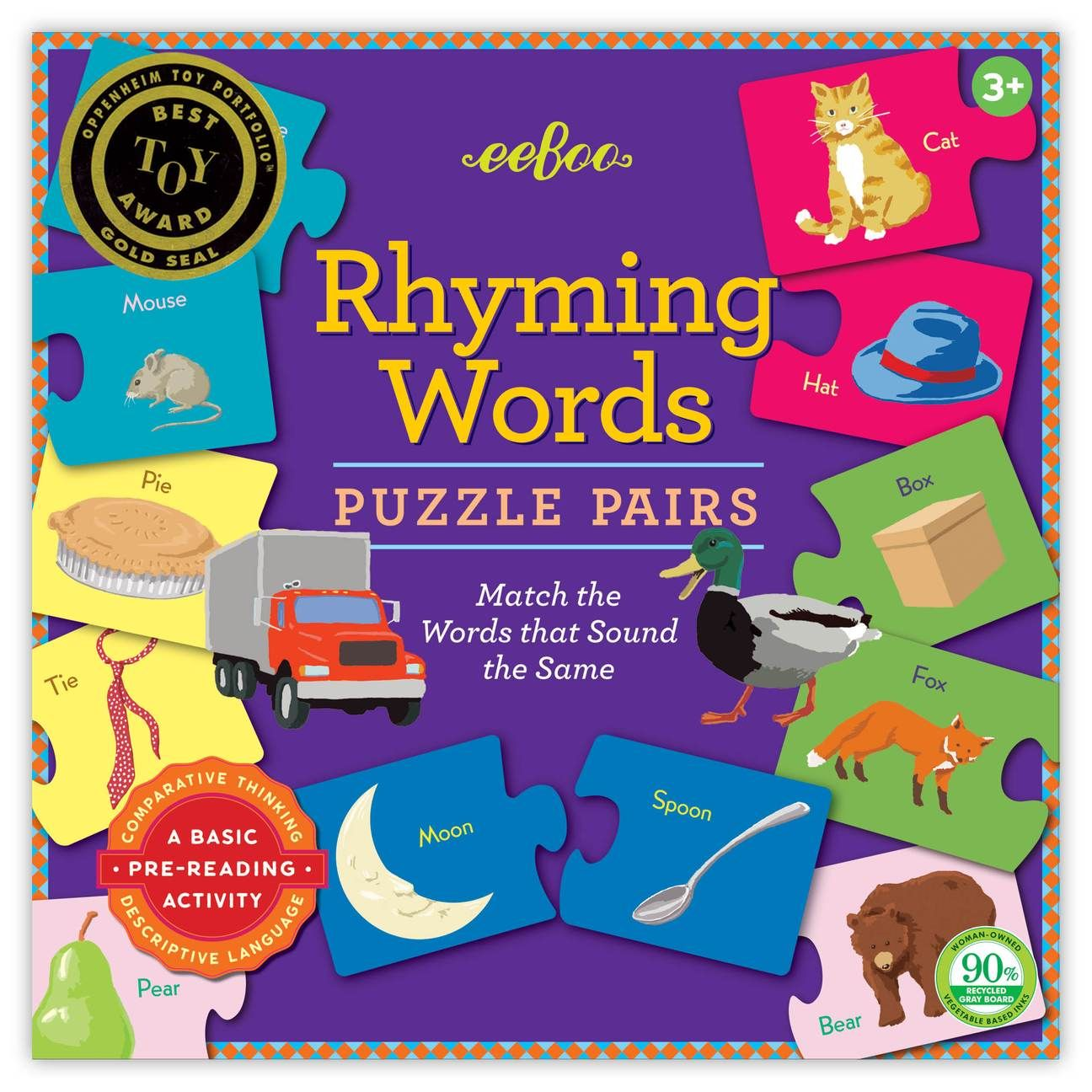 Rhyming Puzzle Pairs in 2020 Reading skills, Rhyming