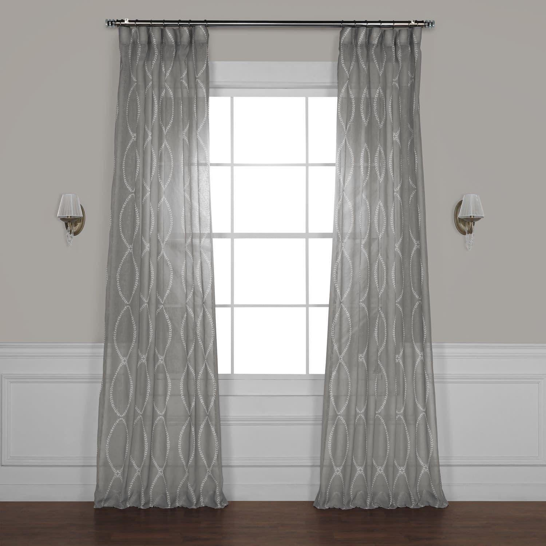 Grecian Grey Printed Sheer Curtain Panel Curtains Sheer