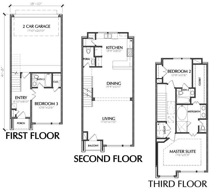3 story townhouse floor plan for sale in houston for Townhouse floor plans