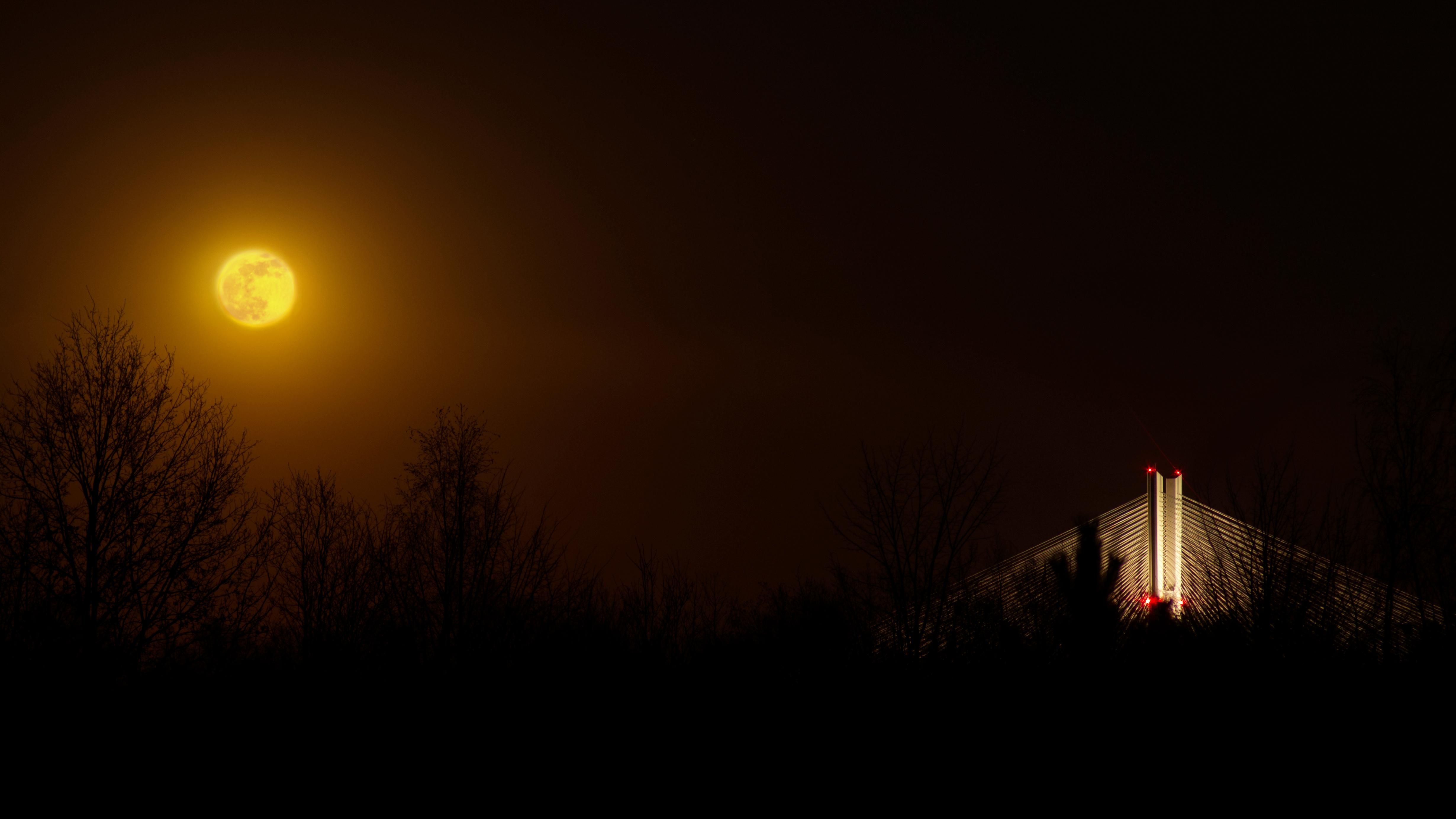 ITAP of a moon and a bridge from my balcony at night.#PHOTO #CAPTURE #NATURE #INCREDIBLE