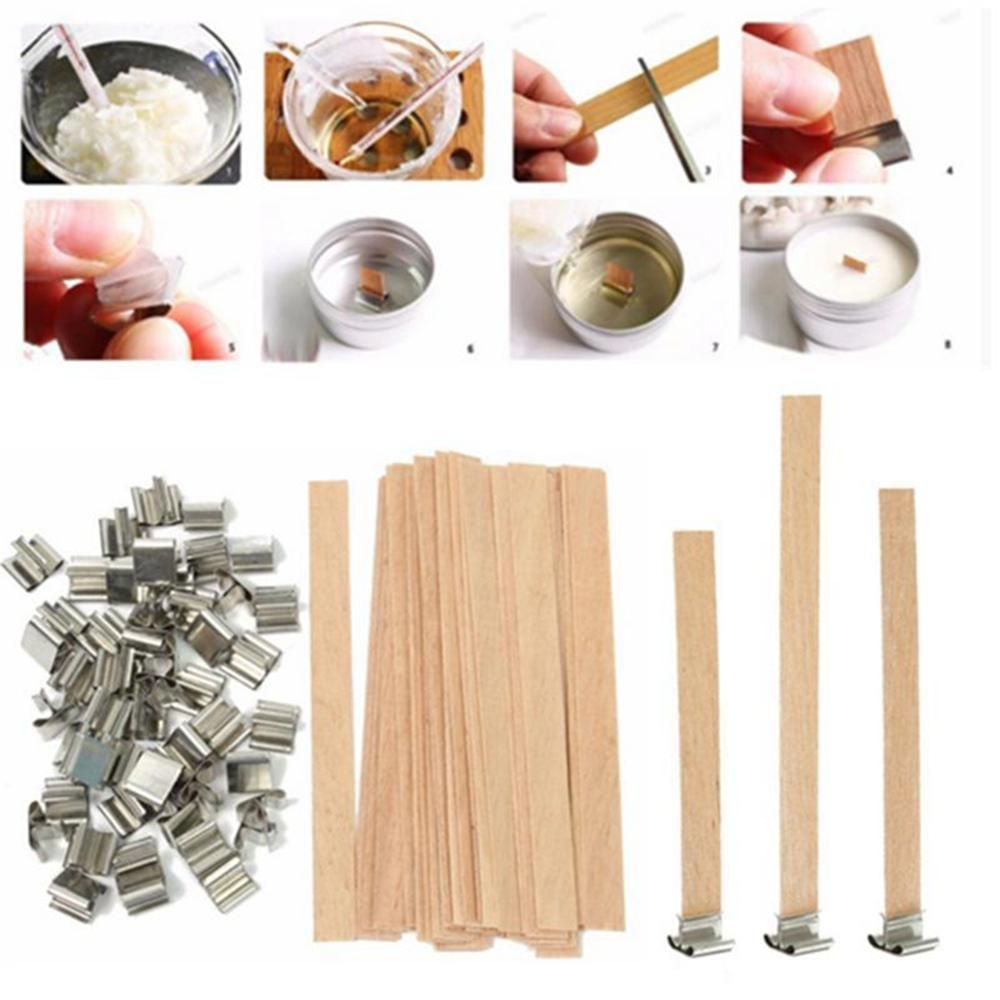 50pcs wooden candle wick metal candle wick holder with
