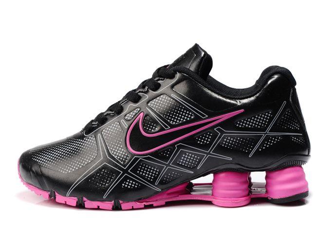 black and pink nike shox
