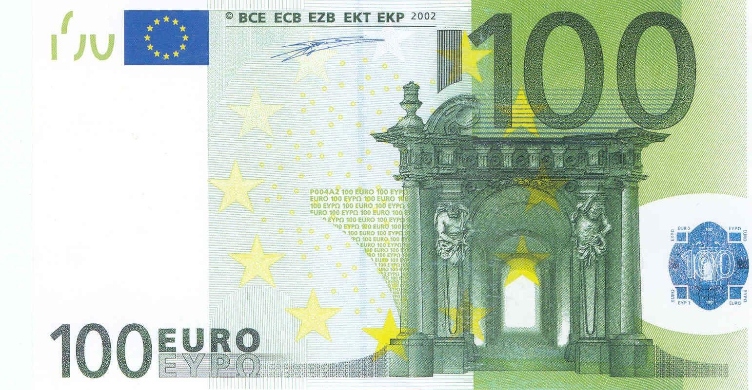 Na Licevoj Storone Banknot Evro Izobrazheny Vorota I Okna Na