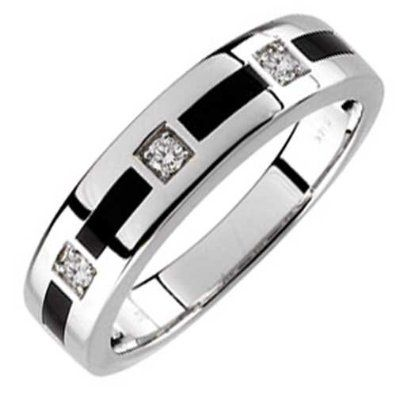 Amazon Com 14kt White Gold Arty Onyx And Diamond Men S Wedding
