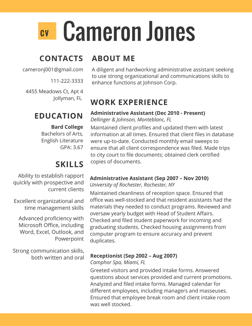Cv Resume Template 2017 In Administative Worker Best