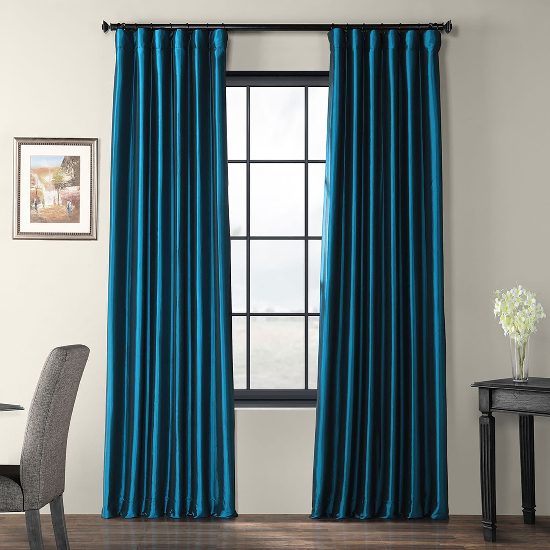 Faux Silk Taffeta Curtain Mediterranean Navy Blue Curtains Half Price Drapes Furnishings