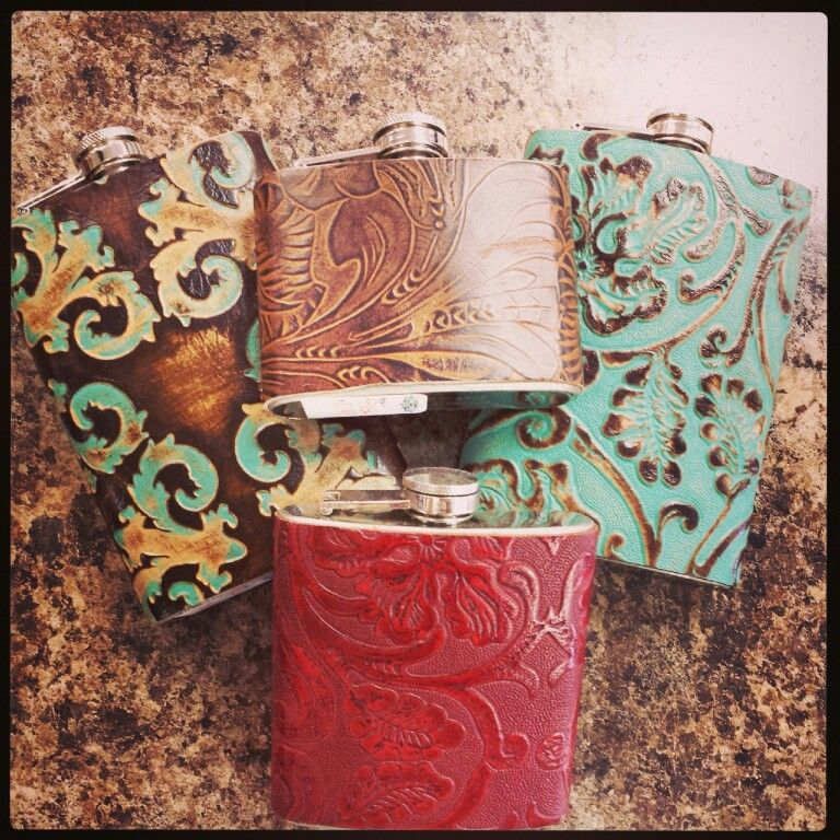 Hand Tooled Leather Flasks 《3 Sizes》$22.99, $26.99, & $29.99 ♥♥