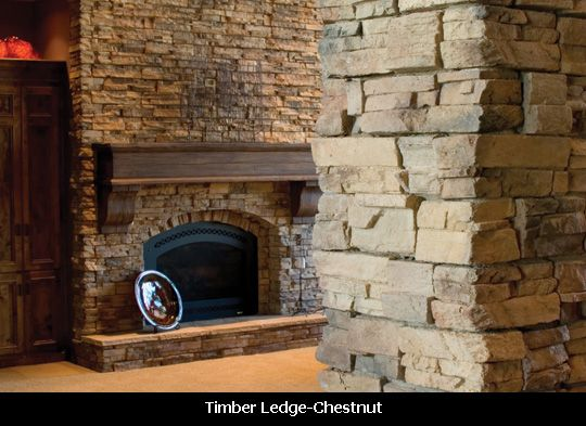 Rustic Fireplace In Timber Ledge Stone Veneer Stone