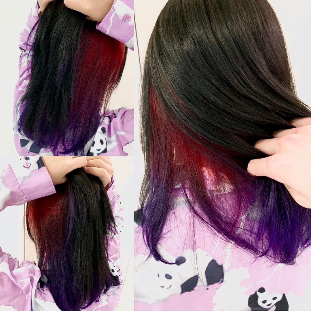 New The 10 Best Hairstyles With Pictures 人気のインナーカラー 表面は黒インナーは赤紫の 2トーングラデ 赤 Red 紫 Violet インナーカラー グラデーションカラー