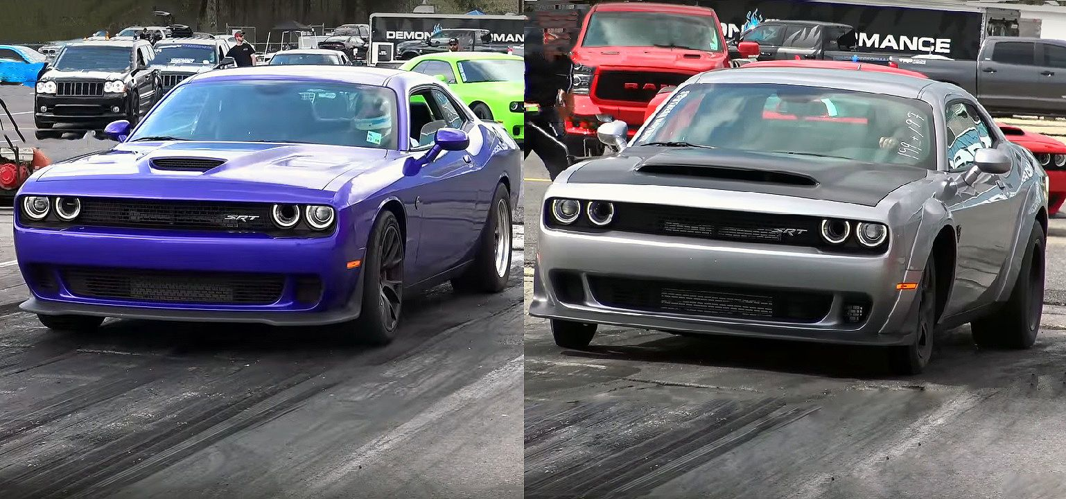 Demon Vs Hellcat 1 4 Mile Drag Race Cool Sports Cars