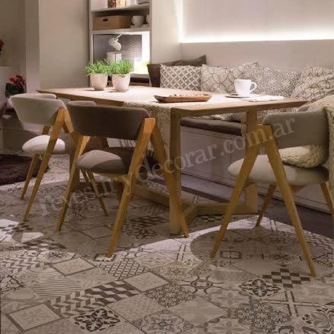 Cer mica lourdes simil calcareo gris 35x35 ceramica for Decoracion piso gris