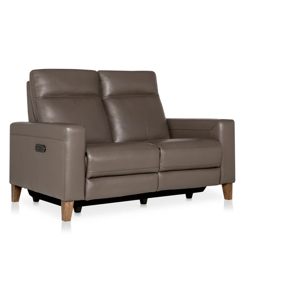 Xander 2 Seat Leather Electric Recliner Sofa Taupe ...