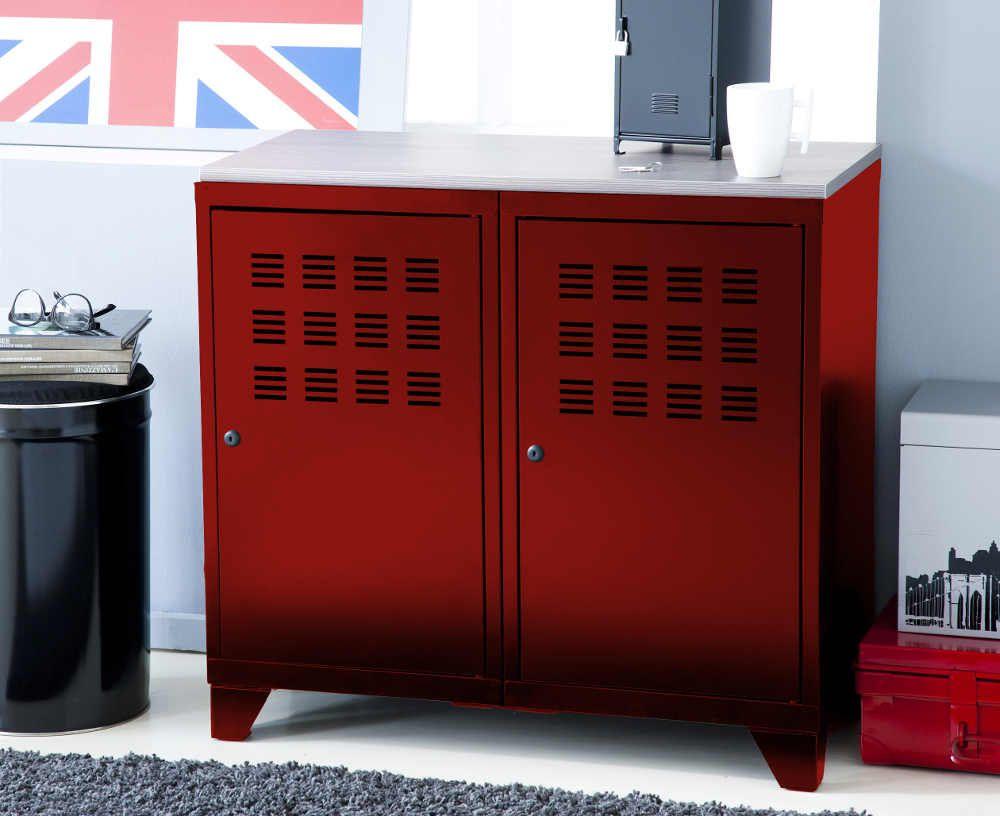 Armoire De Rangement Mtal 2 Portes Rouge Dco Salon