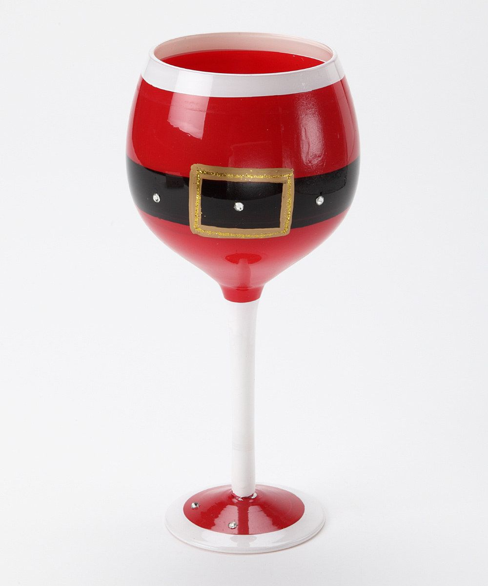 Look At This Red Santa Belt Wineglass On Zulily Today Christmas Wine Glasses Christmas Glasses Wine Glass Crafts