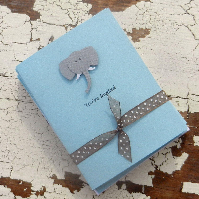 Handmade Baby Shower Invitations Blue Elephant 10 Pack