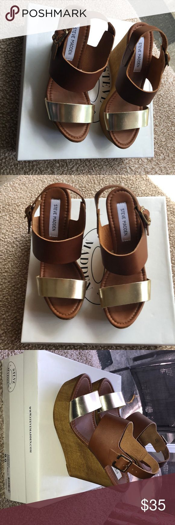 Steve Madden Wedges NIB Fabulous two tone wedges in cognac and gold. Never worn ...,  Steve Madden Wedges NIB Fabulous two tone wedges in cognac and gold. Never worn ...,