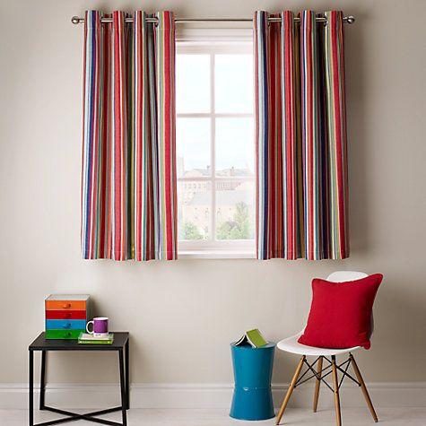 Buy John Lewis Bright Stripe Lined Eyelet Curtains, Multi Online At  Johnlewis.com