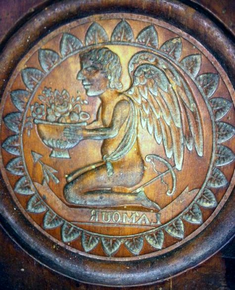 Very Rare WOODEN ANGEL BUTTER MOLD 18th Century Museum Piece ! Inscription AMOUR.