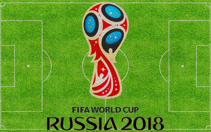 Download Wallpapers 4k Russia 2018 Football Field Fifa World Cup Russia 2018 Fifa World Cup 2018 Logo Green Grass Soccer Fifa Football Soccer World Cu Times De Futebol Futebol