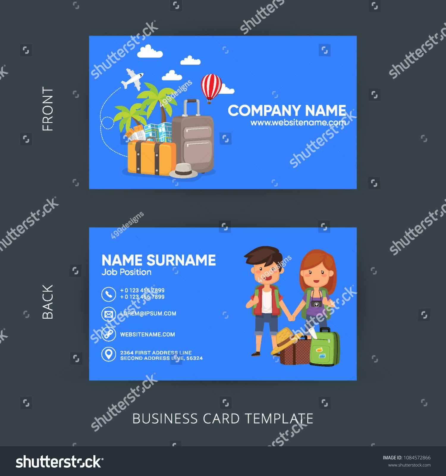 Travel Agency Template Vouchers Set From Tourist Company Isolated Vector Illustration Business Card V Agency Business Cards Travel Agency Vector Business Card