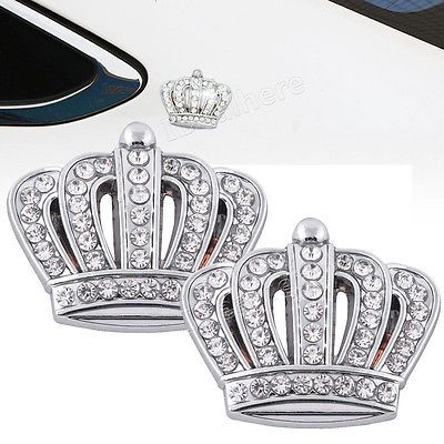 2x Car Metal Crown with Rhinestone Emblem Badge Sticker Silver for TOYOTA Crown