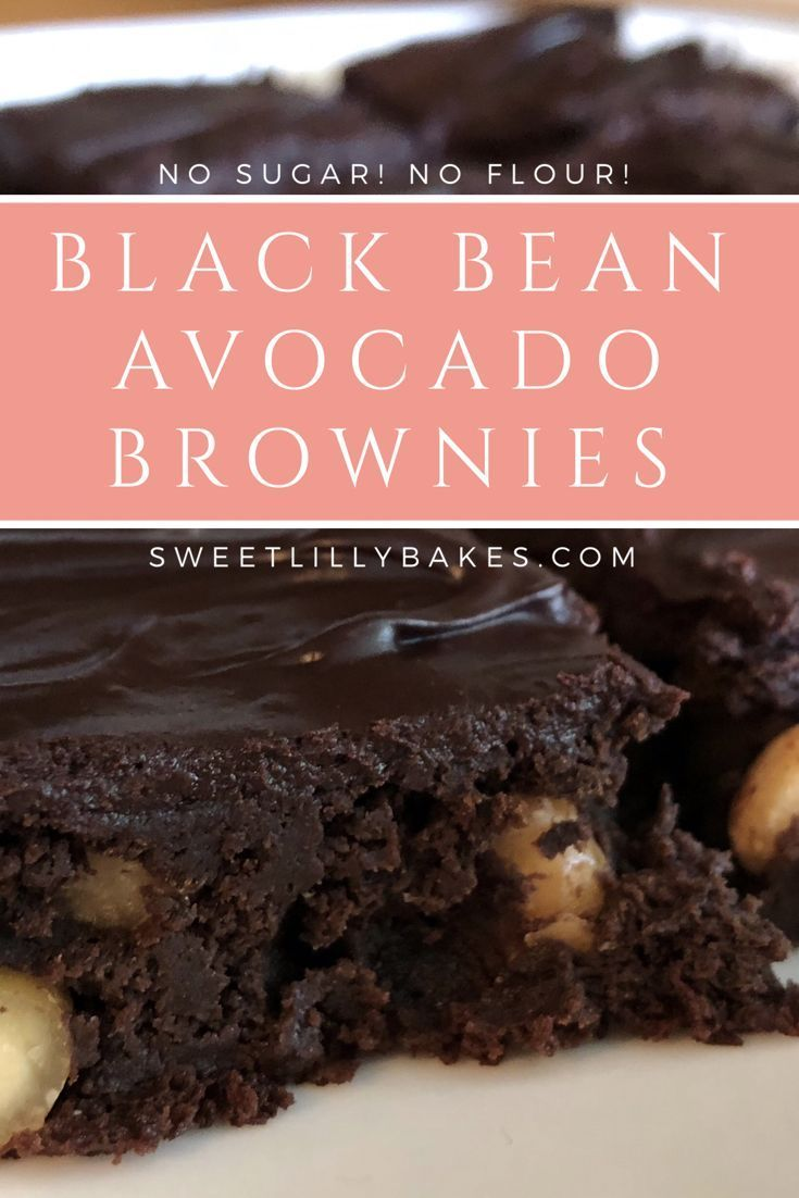 Black Bean Avocado Brownies. Super fudgey with a delicious rich frosting and some peanuts for a goo
