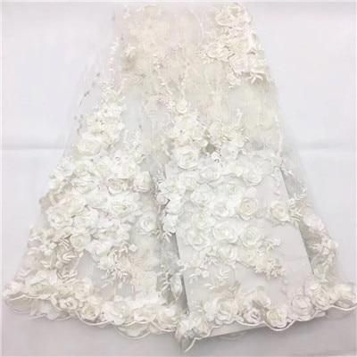 2018 New style French Net lace fabric 3D flower African tulle mesh lace fabric high quality nigerian lace fabrics1207-2 #nigeriandressstyles