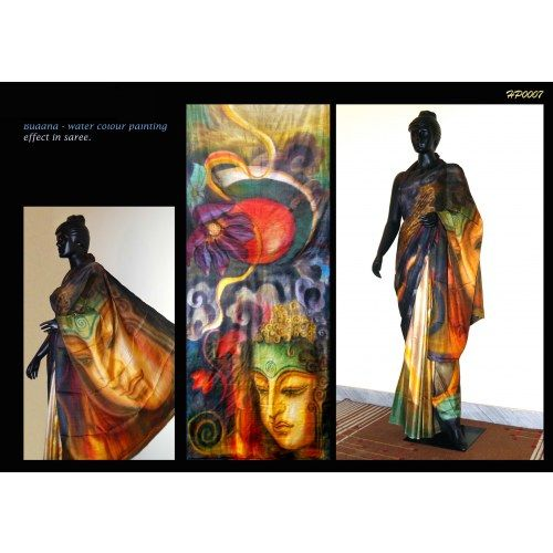 Bankura (bishonpur) Silk Hand Painted Saree with ;ord Buddha painting MADE ON ORDER. 4 WEEKS DELIVERY TIME pd007 - Online Shopping for Silk Sarees by Muhenera