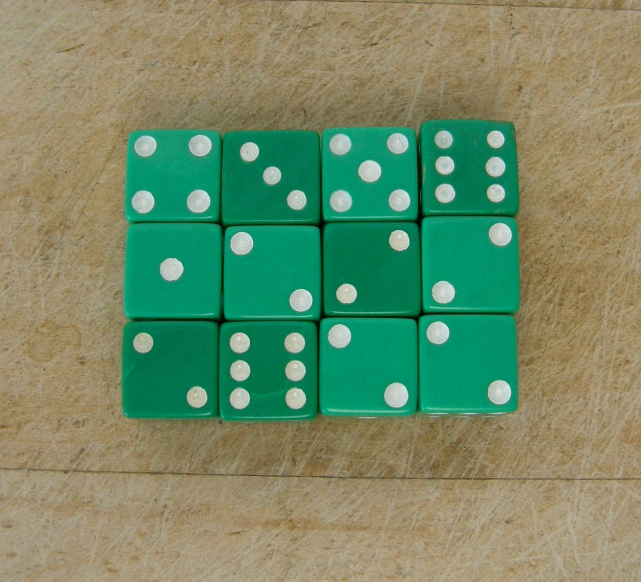 TWELVE GREEN DICE with White Dots Gaming Collectible Gambling Dice Casino Di Mid to Late 20th Century by OnceUpnTym on Etsy